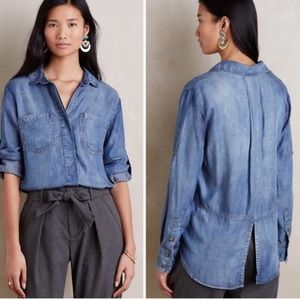 Anthro  cloth and stone Chambray  button down